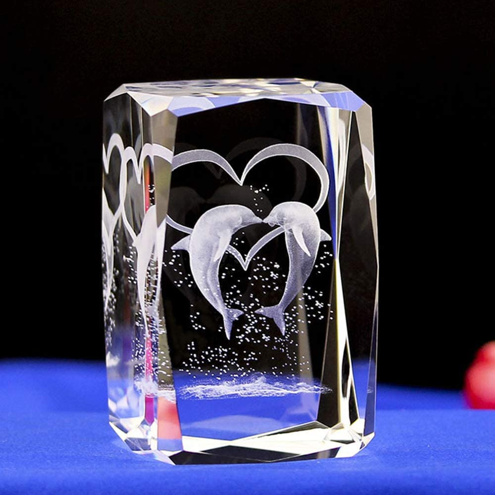 Duosuny 3D Laser Crystal Dolphin with Gift Box, Anniversary & Paperweight, Christmas Birthday Valentines Wedding Gift