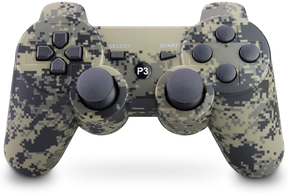 Apzia PS3 Controller Wireless Dual Shock Remote Gamepad for Sony Playstation 3 with Charging Cable (Camouflage Grey)