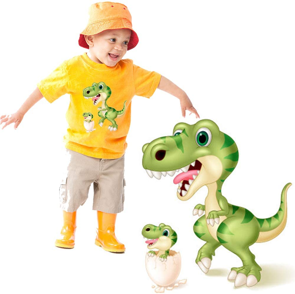 Baby Iron On Patches Cartoon Animals Dinosaurs DIY Iron On Transfer for Kids Decorate T-Shirts, Jeans, Clothes. Cute Dinosaurs Patches Design Fits Party
