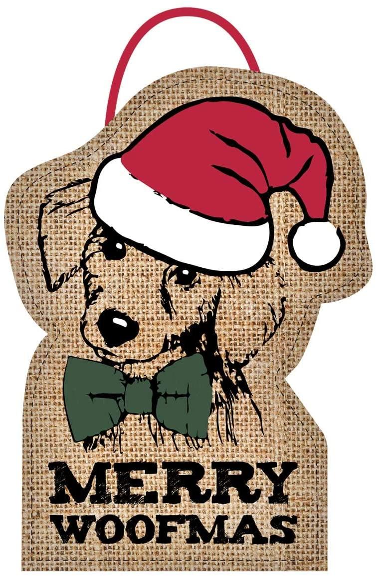 Mona B. Merry Woofmas Jute Burlap Door Banner M-5760