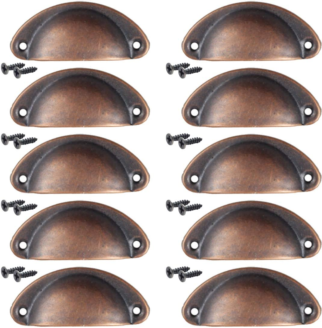 Dasunny 10 Pcs Metal Cup Pull Handle, Red Bronze Satin Nickel Shell Shape Handle Pull Knobs for Furniture Cabinet Drawer, Hole Centers 2.6Inch