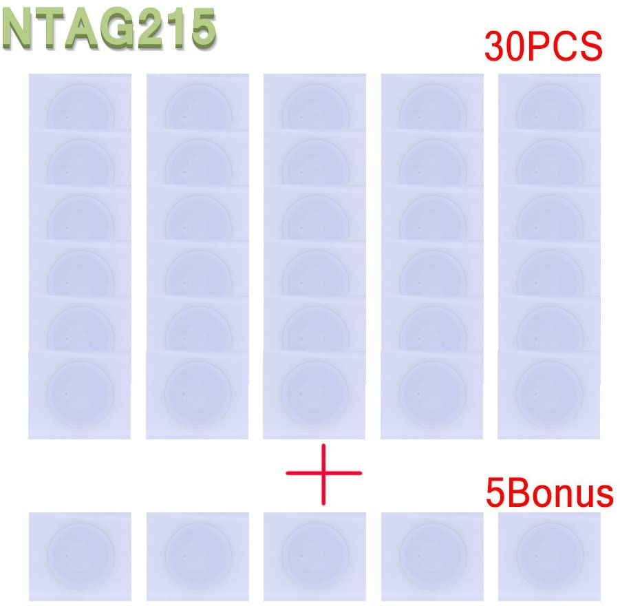 YIQing 35pcs NTAG215 Tag Stickers(25mm) Used for Amiibos Game Cards and Compatible with Samsung Sony LG Android All NFC-Enabled Smartphones and Devices - NTAG215 ,TagMo/Amiibo Compatible