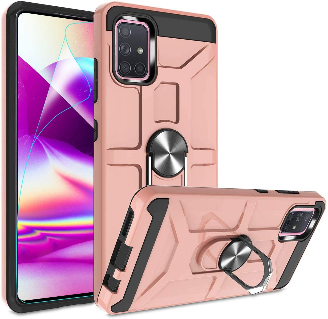 N\A A71 5G Phone case for Samsung Galaxy(Not for A71 5G Ultra Wideband Verizon and A71 4G) with 360°Rotating Metal Ring Bracket and Free HD Screen Protection Film and with Soft TPU.(Rose Gold)