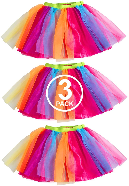 Tigerdoe Rainbow Tutu's – 3 Pack - Multicolored Tulle Tutu - 80s Accessories - 80s Clothes for Women - Tutus for Women