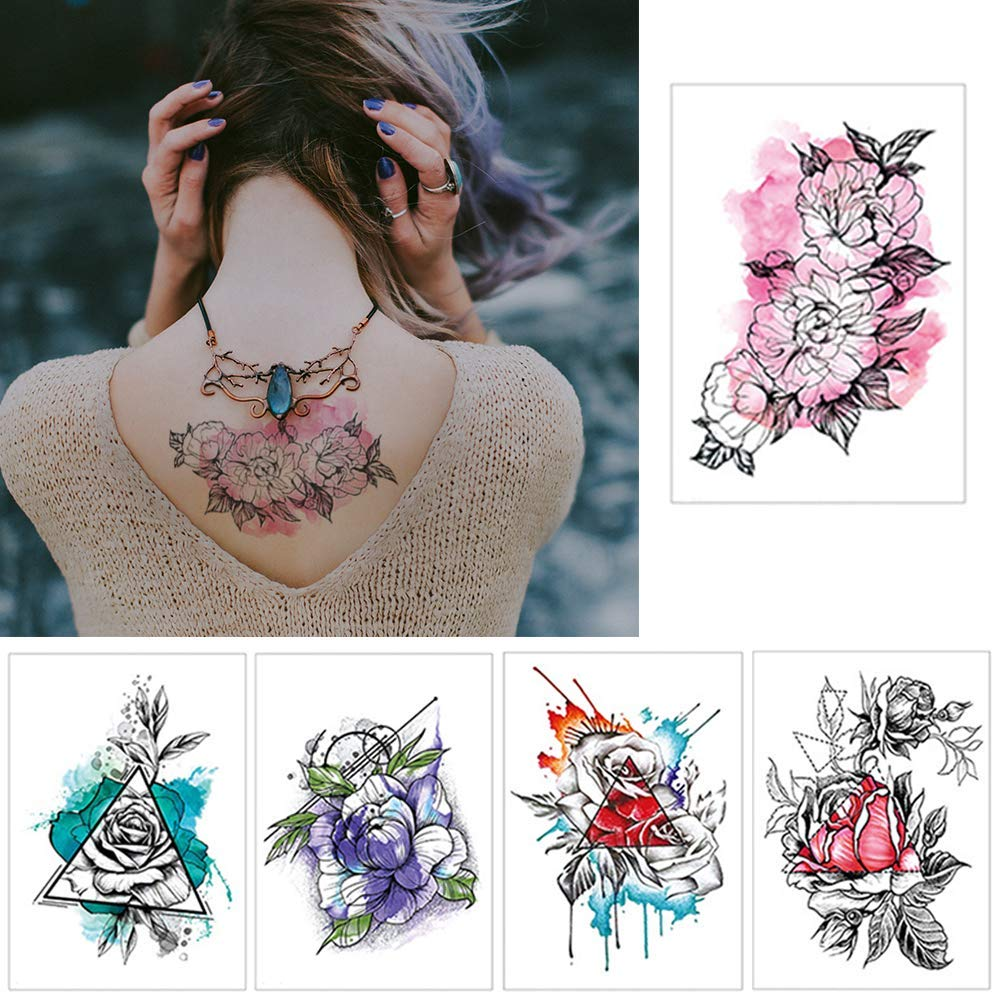 5 Pcs Fake Large Temporary Tattoos Body Art Stickers Back Shoulder Arm Thigh Wrist Fashion Decoration for Women Teens Girls (Ink Watercolor Flower)