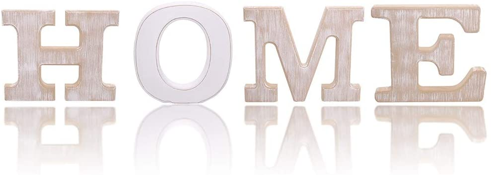 UNIQOOO Rustic Wood Home Sign | Free Standing Wooden Block Cutout Letters Sweet Home Decorative Signs | Perfect for Livingroom, Kitchen, Mantel Decoration | Wedding, Housewarming Party Gifts