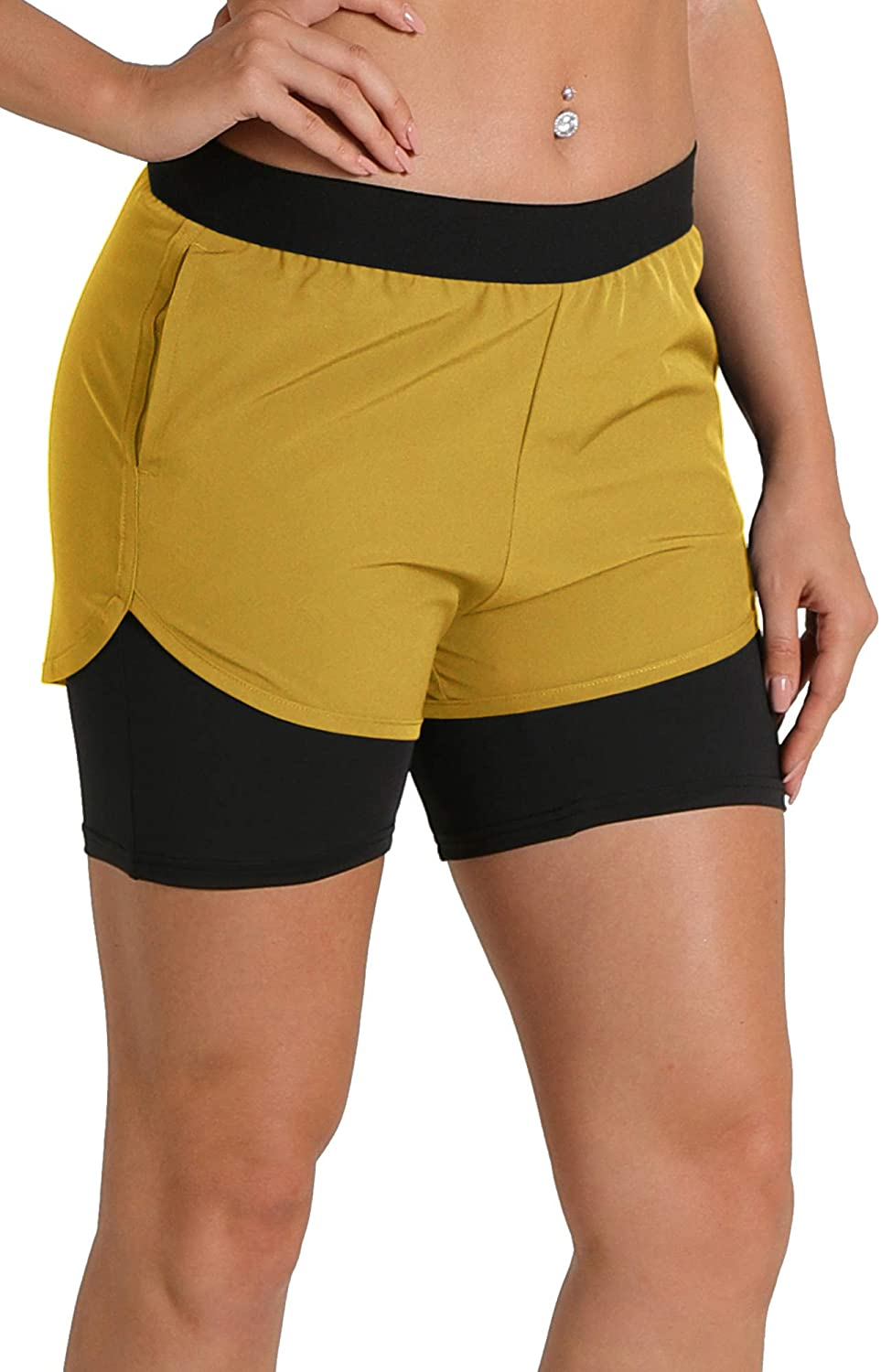 icyzone Women's Workout Shorts with Pockets - Athletic Running Yoga Exercise Jogging Shorts 2-in-1