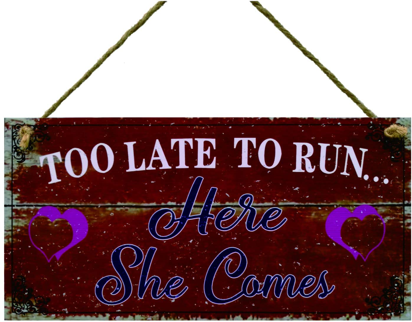 Meijiafei Wedding Sign Too Late to Run Here she Comes Bride Groom Present Plaque Pageboy Gift Sign 5