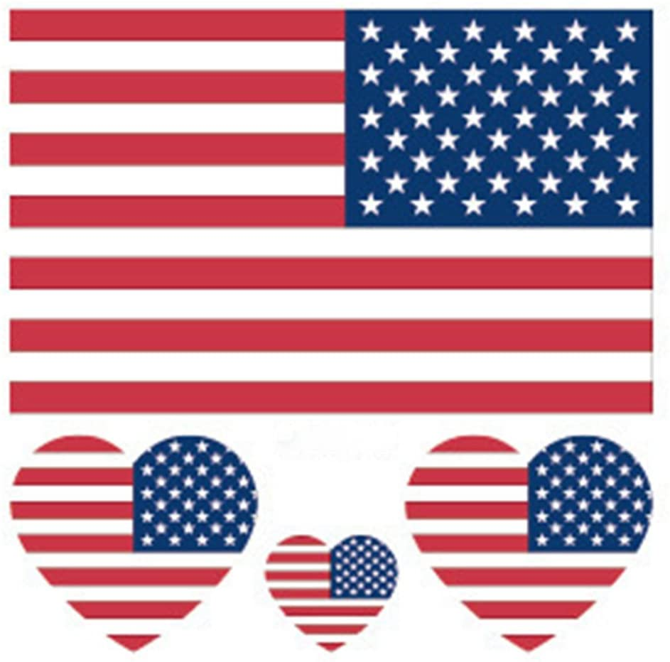 30 Sheets American Flag Temporary Tattoo Kit, USA Flag Temporary Tattoos