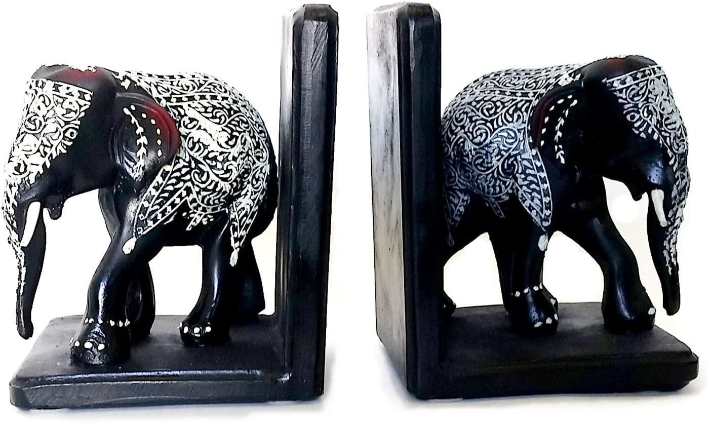 Bellaa 21718 Elephants Decorative Bookends Black 6 Inch Tall