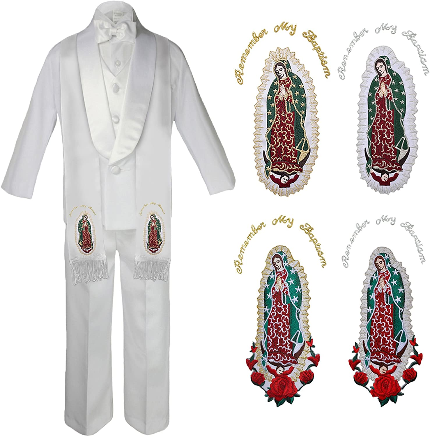 Unotux Baby Boy Christening Baptism Formal White Shawl Lapel Suit Guadalupe Maria Sm-7