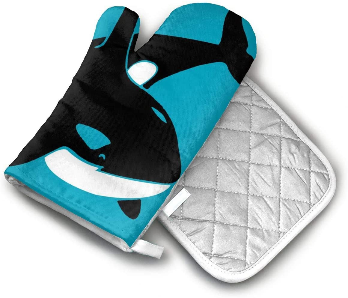 AISDHAJKSD Orca Orka Wal Killer Whale Delphin Dolphin Delfin Shark Hai Premium Terylene/Nylon Oven Mitts and Pot Mat,Pot Mat/Hot Pads, Heat Resistant Gloves BBQ Kitchen
