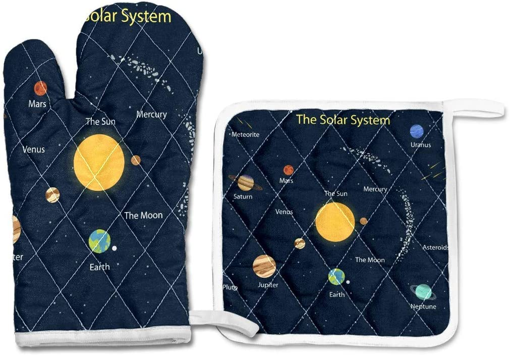 Honey Mill Oven Mitts and Pot Holders Set,Oven Glove Cooking Gloves Hot Pad,Heat Resistant Kitchen BBQ Glove Gift for Cooking Baking Grilling Set of 2 Solar System Design