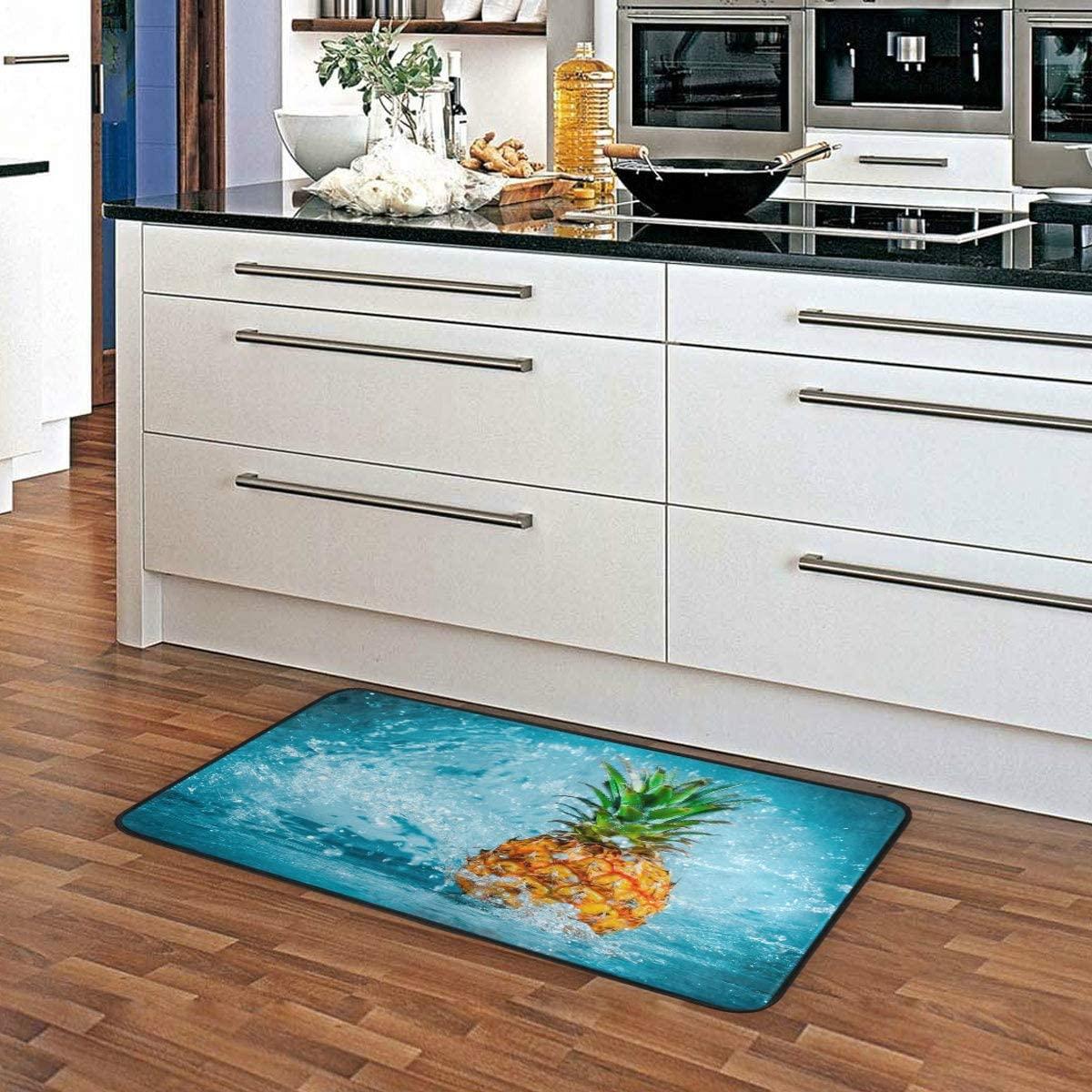 ALAZA Fresh Pineapple Water Non Slip Kitchen Floor Mat Kitchen Rug for Entryway Hallway Bathroom Living Room Bedroom 39 x 20 inches(1.7' x 3.3')