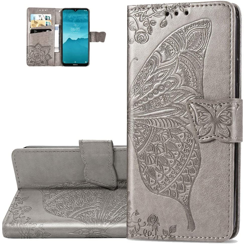 Asdsinfor Nokia 7.2 Case Full Stylish Advanced Embossing Wallet Case Credit Cards Slot with Stand for PU Leather Shockproof Flip Magnetic Case for Nokia 7.2 / Nokia 6.2 Butterfly Gray SD