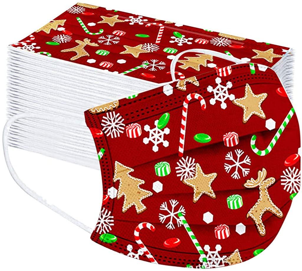 Trolimons 50PC Disposable Mouth Shields Christmas Print Face Màsc Bandanas Children Face Cloth 3Ply Ear Loop Face Covering