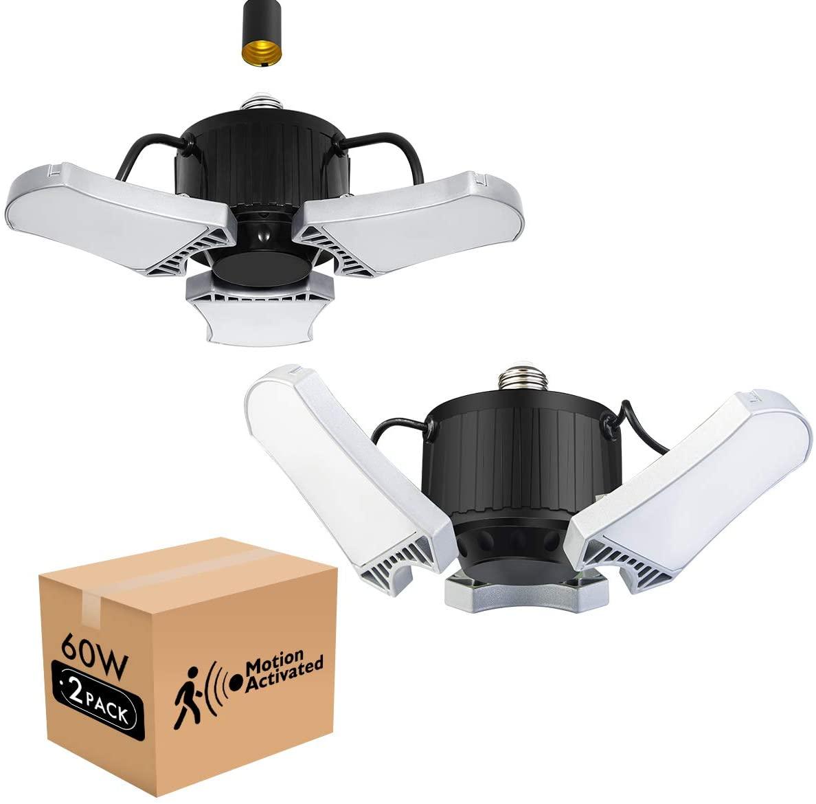 Lightdot 2 Pack LED Garage Light with Motion Sensor, 6000LM(60W Eqv 200W), 5000k, E26/E27 Base for Garage Basement and Barn (Eye Care)