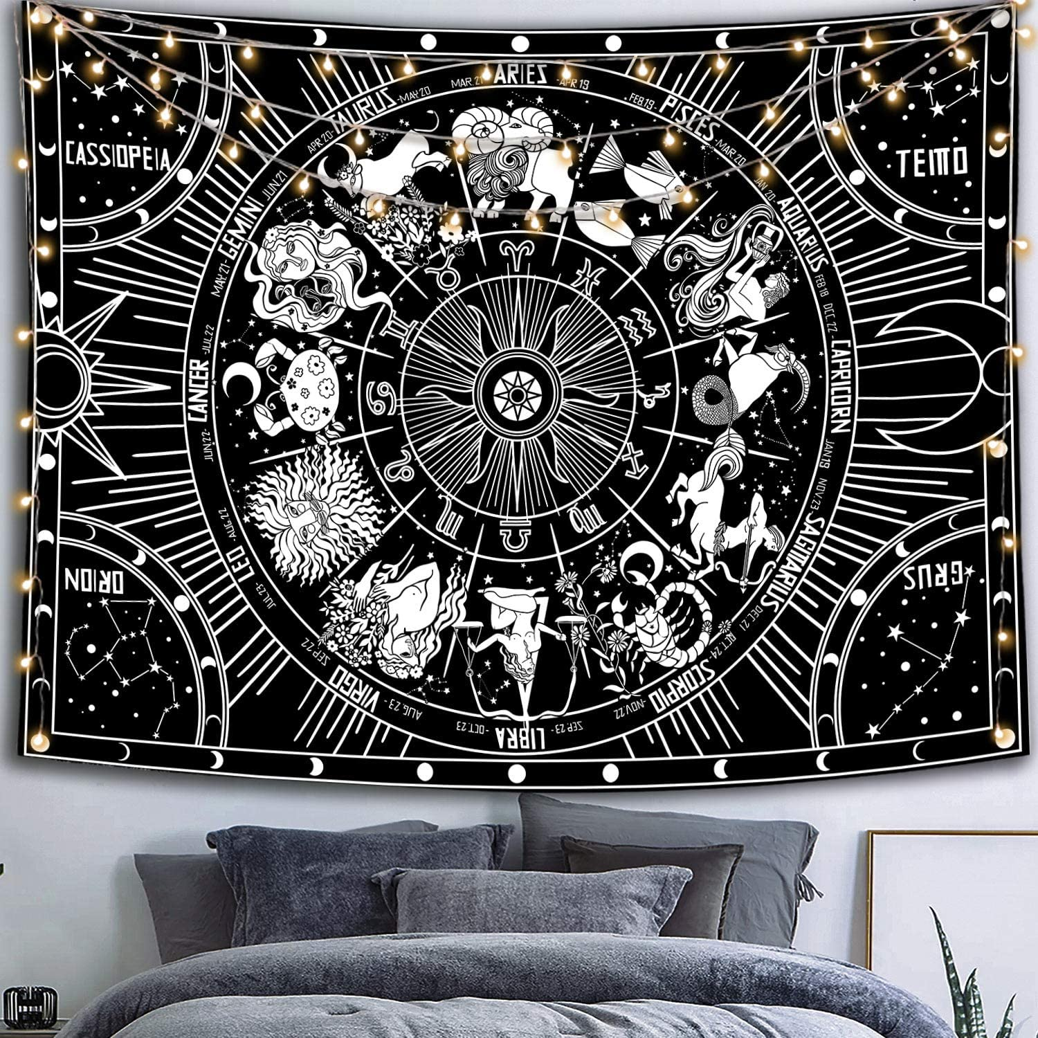 Black and White Tapestry, Constellation Tapestry Wall Hanging, Moon Tapestries for bedroom 50''×60''