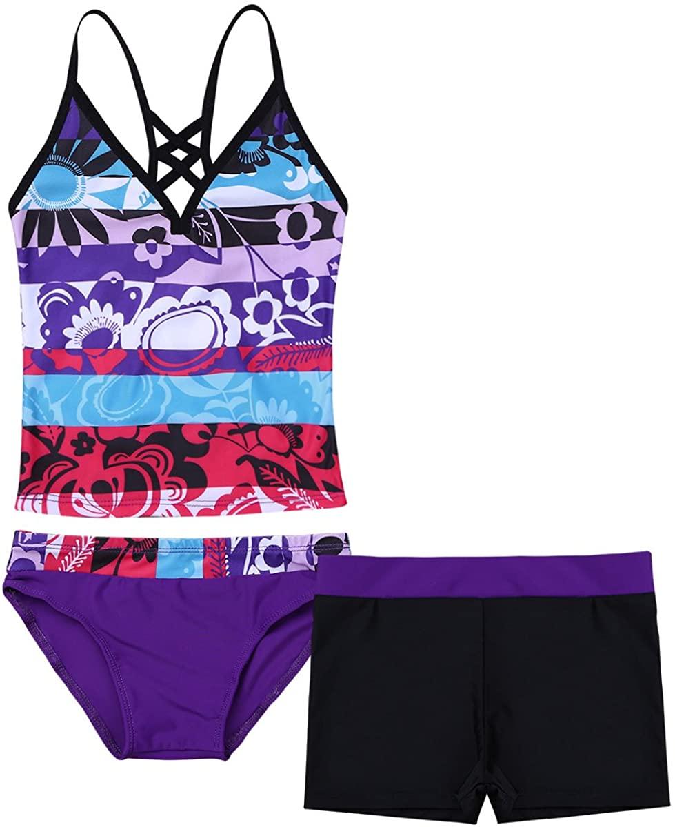 Hularka Kids Girls 3 PCS Tankini Floral Printed Swimsuit Criss Cross Tops with Bottoms Shorts Swimwear Bechwear Bathing Suits