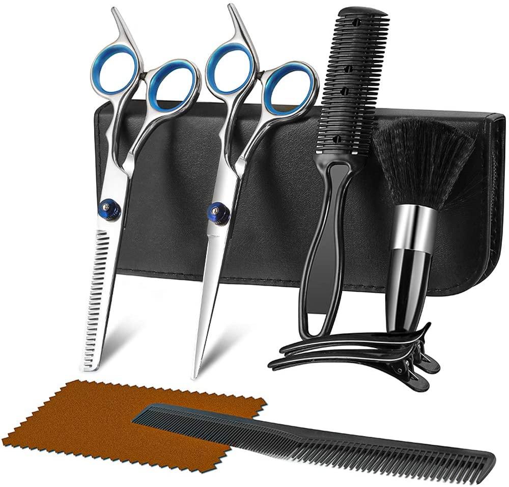 Hair Cutting Scissors Kit for Men & Women, 9 in 1 Professional Hair Scissors Set, Barber Hair Shears with Hair Scissors, Thinning Scissors, Razor Comb, Hair Comb, Clips, Brush, Leather Holster