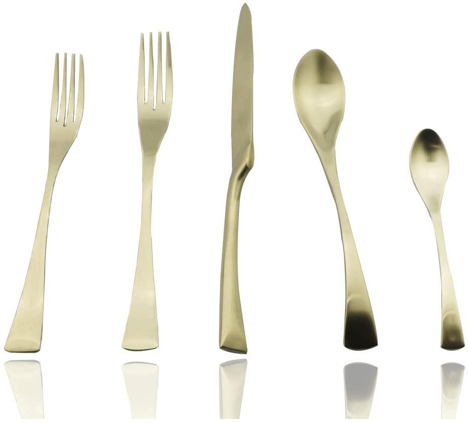 JASHII 20-Piece 304 Stainless Steel Luxury Matte Champagne Gold Silverware Flatware Cutlery Set,Utensil Sets Service for 4,Dinner Knife Fork Salad Fork w/DESSERT COFFEE Spoon