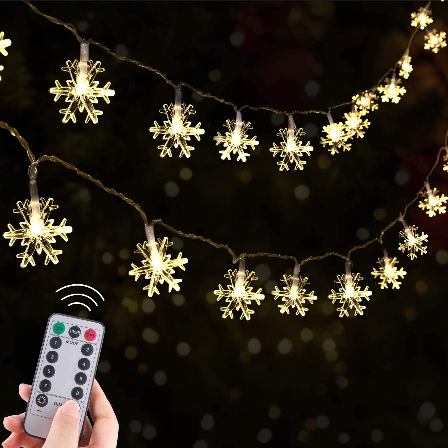 Christmas Snowflake String Lights, 13.8 Ft 40 LED Fairy Lights, Battery-Operated Waterproof with 8 Lighting Modes for Xmas Home Garden Bedroom and Indoor&Outdoor Decoration, Warm White