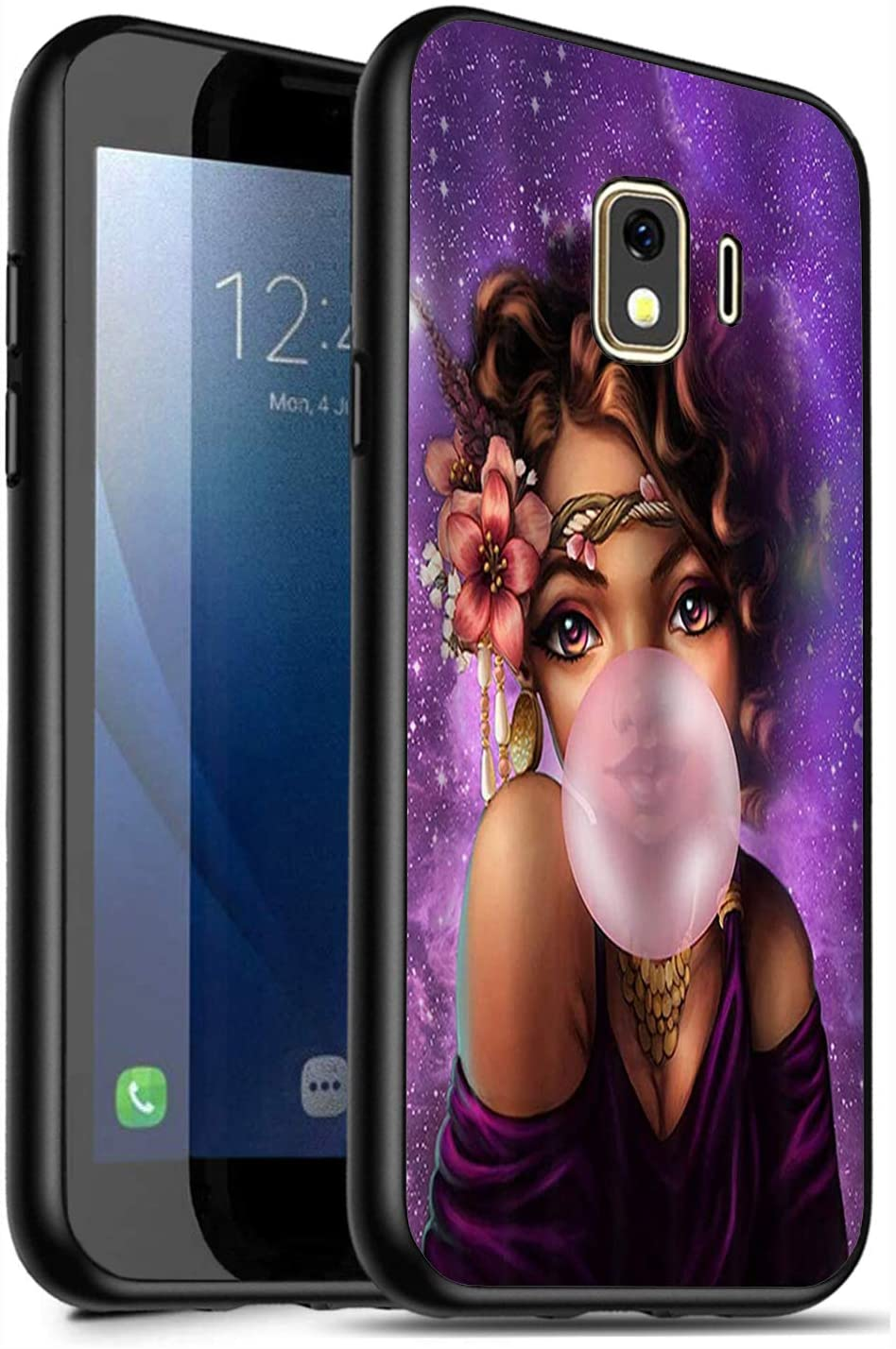 Galaxy J2 Core Case,J2 (2019) Case,J2 Dash Case,J2 Pure Case,J260 Case,Soft Silicone Protective Cover for Samsung Galaxy J2 Core, African American Girl Blowing Bubble Chewing Gum