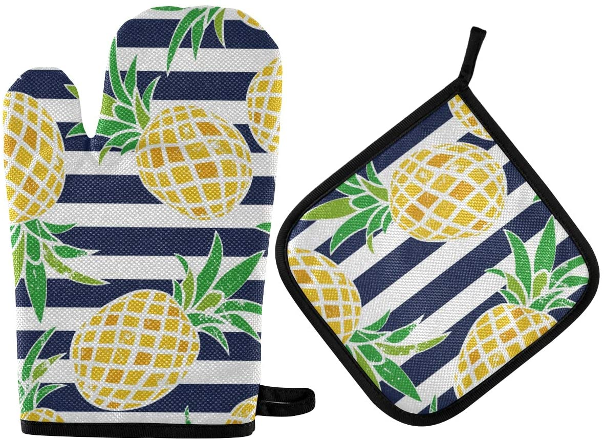 ATONO Watercolor Pineapple Stripes Oven Mitts & Potholders Stes Washable Non-Slip Insulated Hot Grilling Gloves for Kitchen Dining BBQ Baking Cooking