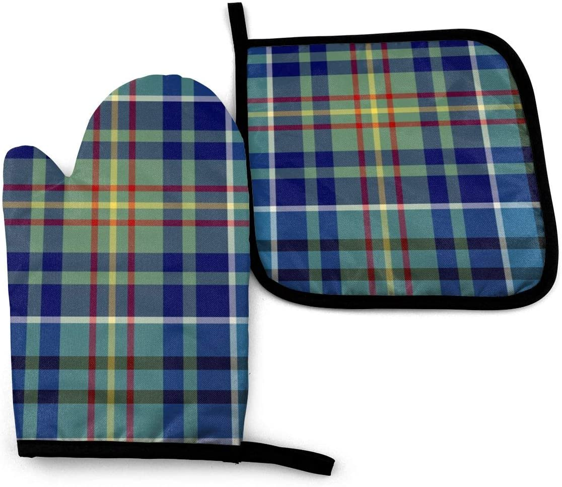 XNLHQH IJ Bright Blue Plaid O'sullivan Tartan 2PCS Heat Resistant Oven Mitts and Pot Holders Sets,for Safe BBQ Cooking Baking Grilling