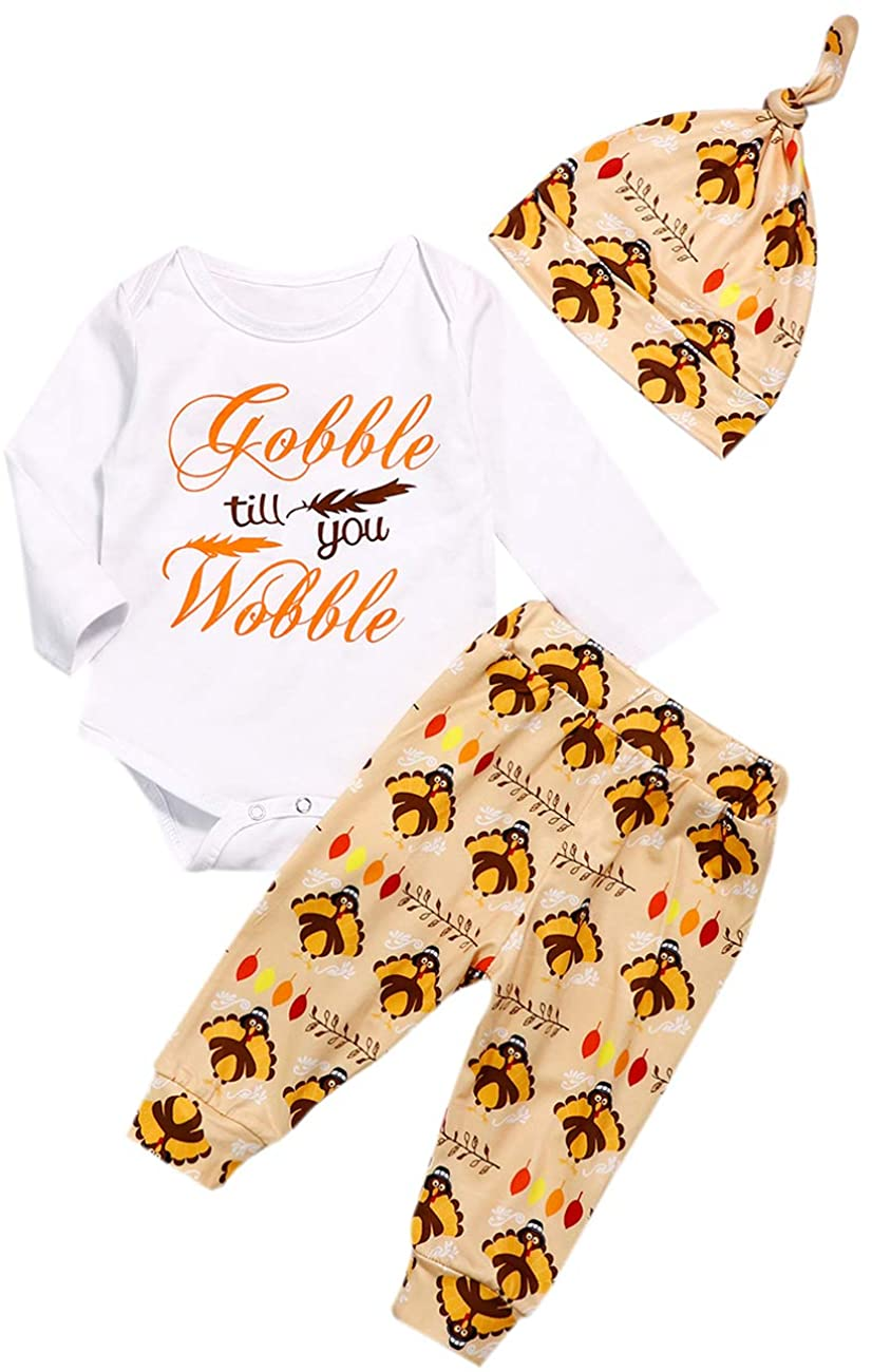 My 1st Thanksgiving Newborn Baby Girl Romper + Turkey Pants + Hat Clothes 3PC Outfits Sets