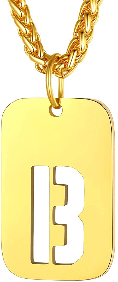 FindChic Initial Necklace Dog Tags Personalized Letter Pendant Gear Patterned Alphabet A to Z Capitals Monogram Necklaces Stainless Steel Gold Plated/Black Minimalist Jewelry for Men
