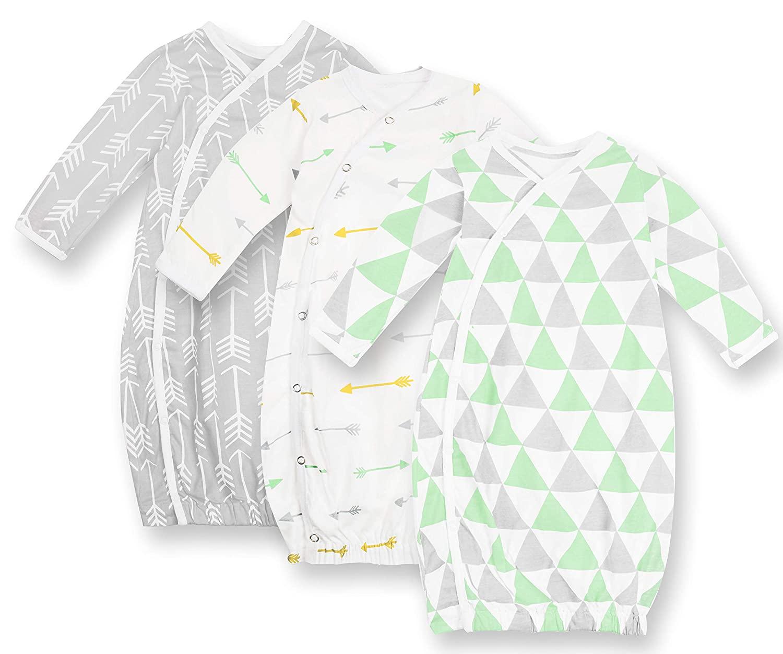 Baby Kimono – Baby Kimono Gown – Newborn Kimono Triangles Collection – Kimono Baby Clothes 3 Pack – Baby Girl Kimono – Baby Boy Kimono Sleepsuit Age 3-6 Months – Soft Pure Cotton Baby Kimono Green