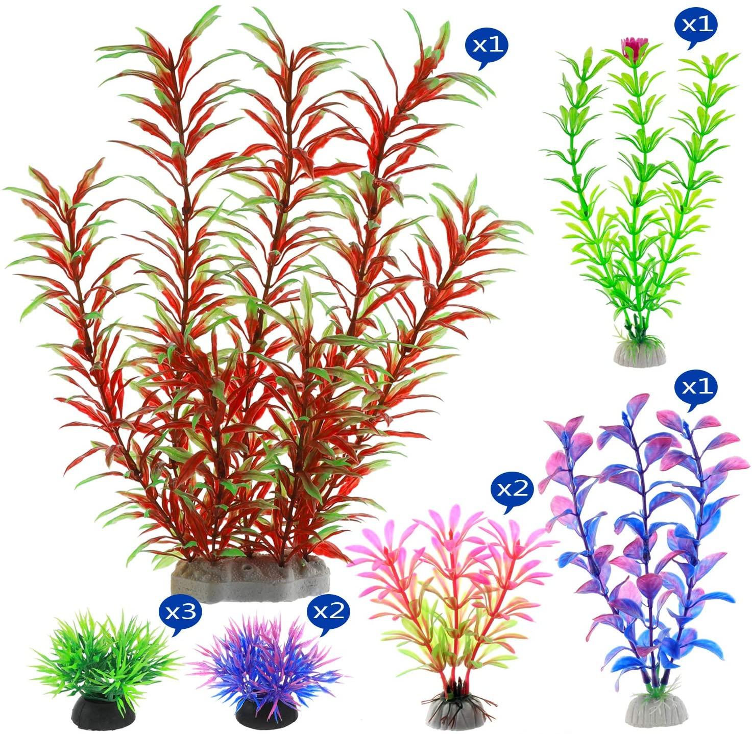 Alegi Artificial Aquatic Plants 10 Pack Aquarium Plants Plastic Fish Tank Decorations for Table Fish Tank