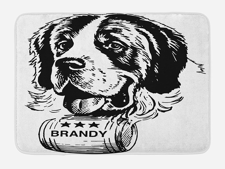 Lunarable Man Cave Bath Mat, Vintage Sketch of Saint Bernard Rolling a Keg of Brandy Whiskey Stars Retro, Plush Bathroom Decor Mat with Non Slip Backing, 29.5
