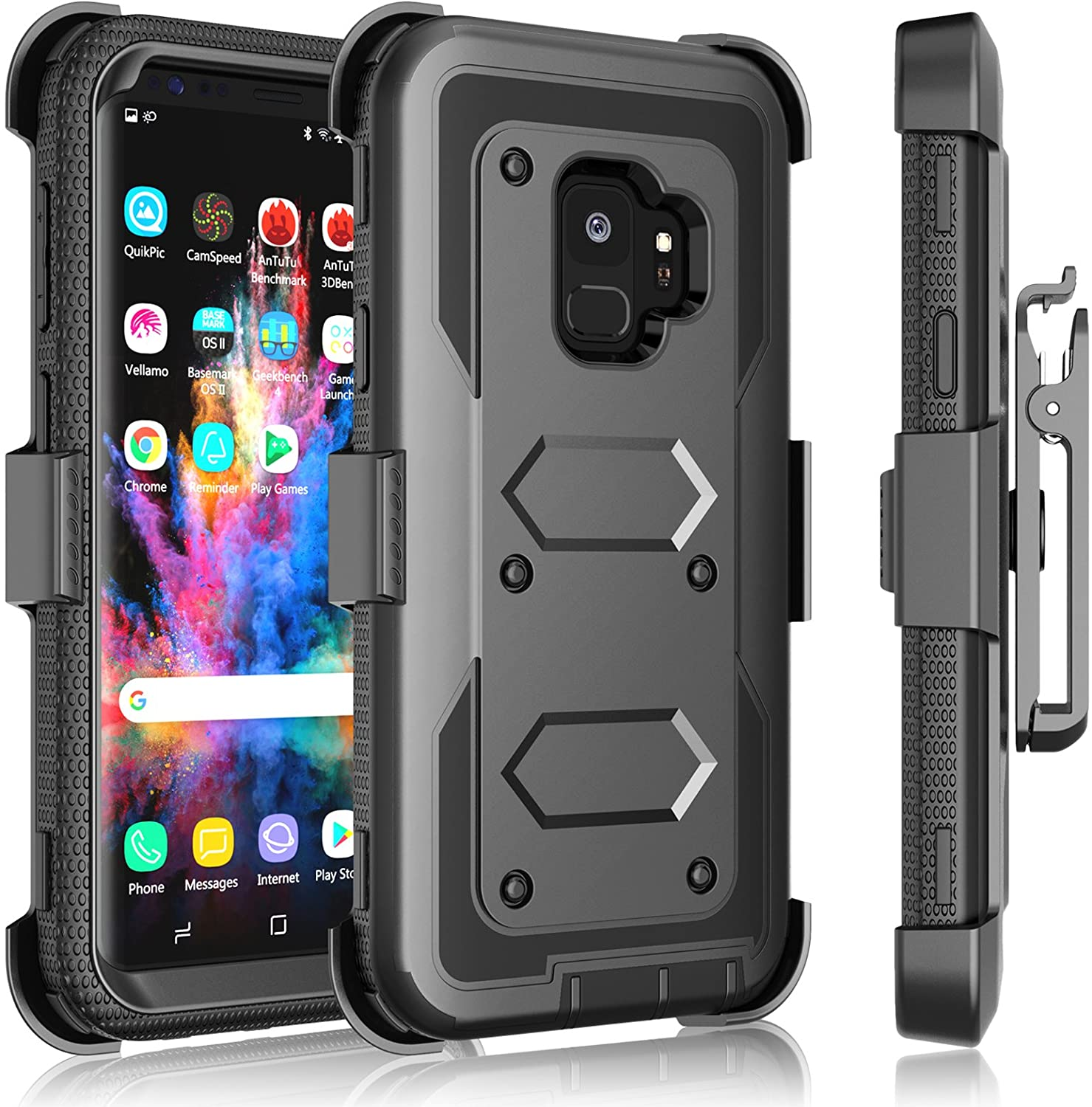 Galaxy S9 Plus Case, Samsung Galaxy S9 Plus Holster Clip, Tekcoo [Tshell] Shock Absorbing [Coal Black] Secure Swivel Locking Belt Defender Heavy Full Body Kickstand Carrying Tank Armor Cases Cover