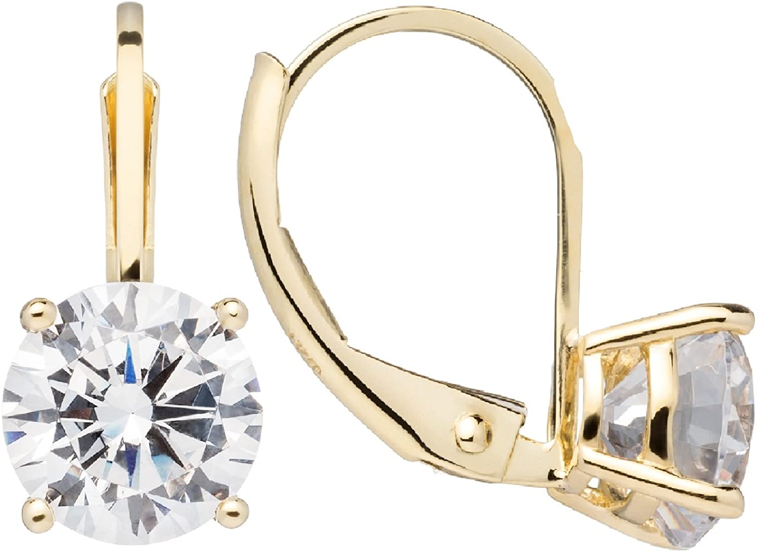 14K Solid White or Yellow Gold Earrings   Round Cut Cubic Zirconia   Leverback Drop Dangle Setting   .50-2.0 CTW   With Gift Box