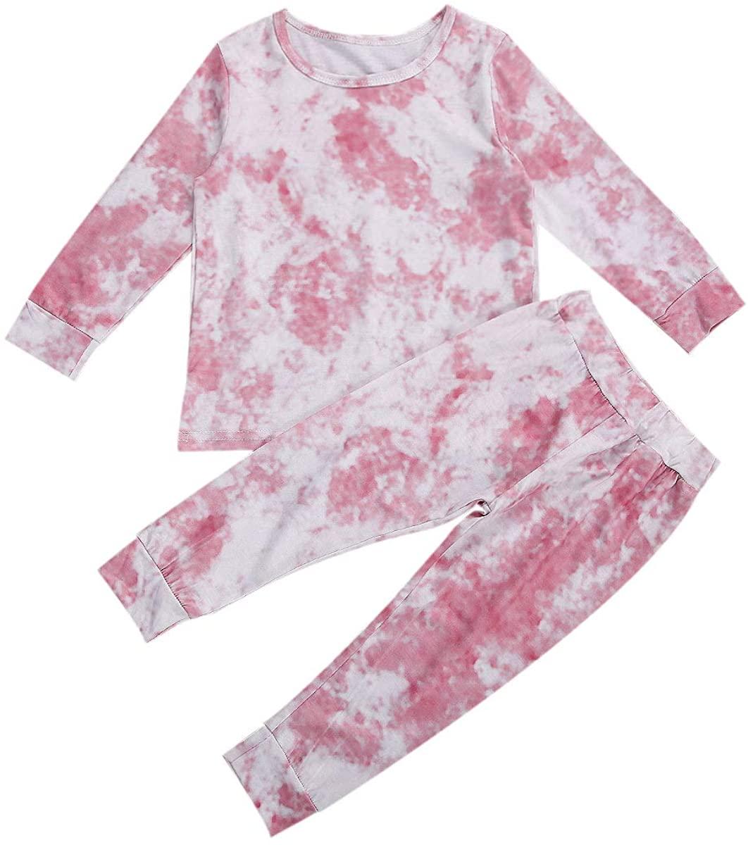 Zamons Toddler Baby Girl Boy Fall Winter Tie-Dye Clothes Outfits Long Sleeve Tops Pants 2PCS Pajamas Set