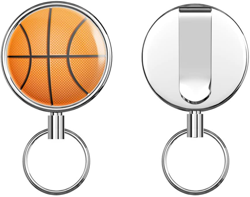 Classic Basketball Retractable Badge Holder Reel Metal ID Badge Holder with Belt Clip Key Ring for Name Card Keychain