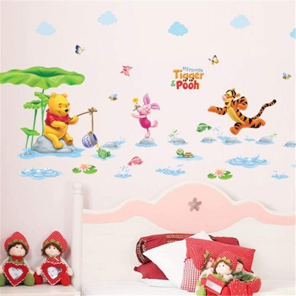 Teegogo Cartoon DIY Wall Stickers for Kids Children Room Decaor 3D Window Bear Winnie Pooh Nursery Wall Decals