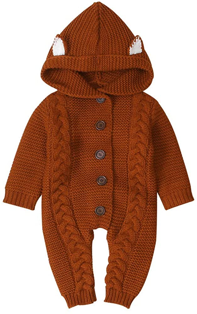 Luckinbaby Newborn Baby Boy Girl Clothes Knit Sweater Romper Long Sleeve Hooded Jumpsuit Overall One Piece Outfit