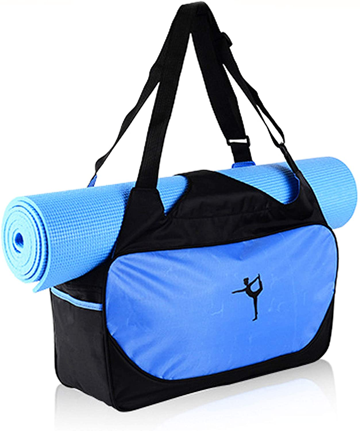 Golden Tech Full Zip Yoga Mat Bags, Waterproof Gym Bag with Yoga Mat Holder, Nylon Basic Tote for Sport Gym TravelWorkout, Large