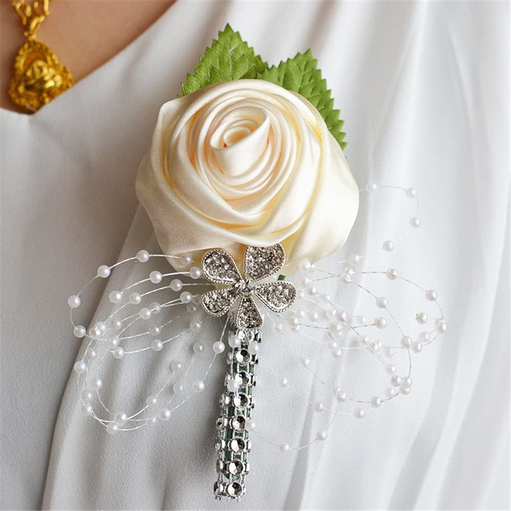 MOJUN Groom Groomsmen Boutonniere Brooch Decor Suit Outfit Brooch for Wedding Party Prom, Pack of 4, Cream