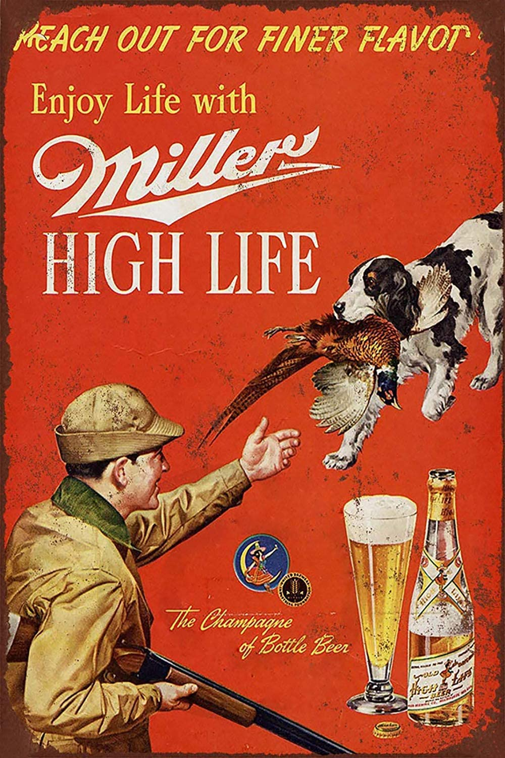 Jesiceny New Tin Sign 1958 Miller Beer and Pheasant Hunting Aluminum Metal Sign 8x12 Inches