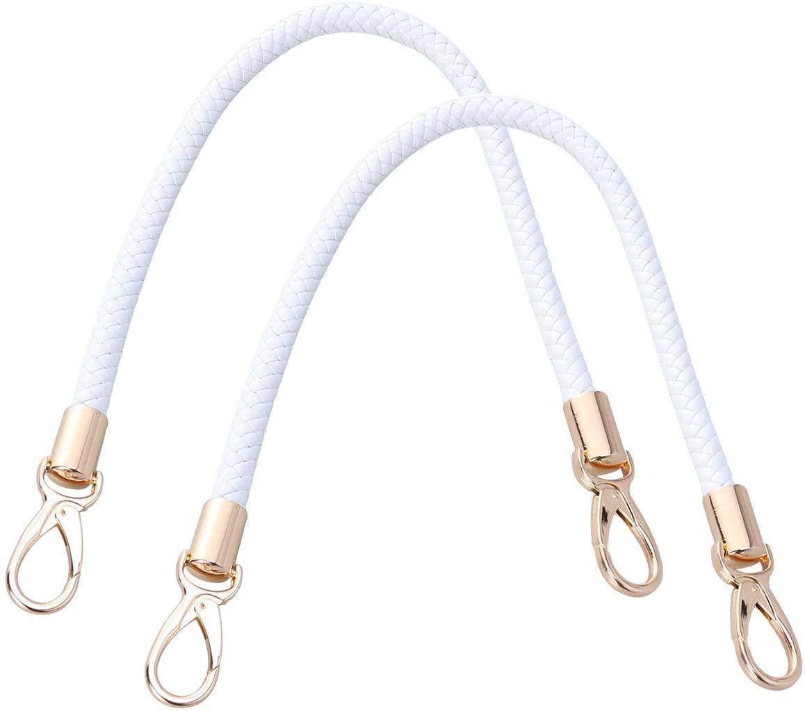 SUPVOX 2pcs 52cm Replacement Purse Straps PU Leather Handbag Handles Gold Spring Buckle Handbag Bag Wallet Straps (White)