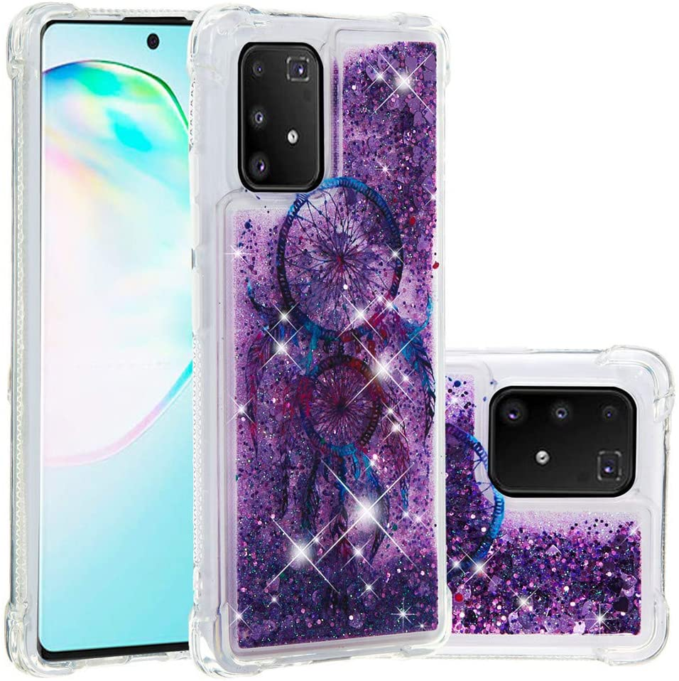 ISADENSER Galaxy A91 / M80S Case Galaxy S10 Lite 2020 Case Clear Soft TPU Glitter with air Thicked Corner 3D Hearts Quicksand Shiny Flowing Liquid Cover for Samsung Galaxy A91 Glitter Dreamcatcher YB