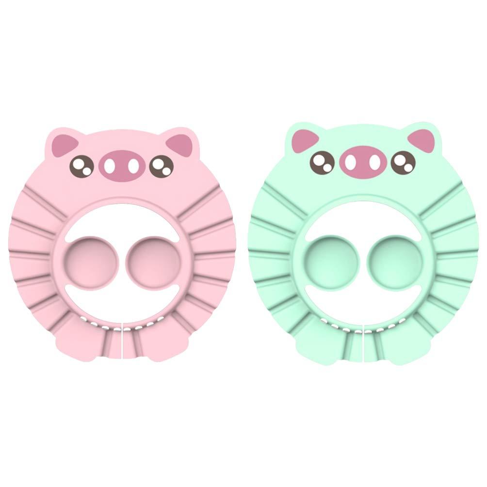 Milisten 2pcs Baby Shower Cap Shampoo Bathing Protection Hat Adjustable Soft Adjustable Visor Cap for Toddler Children Baby Kids