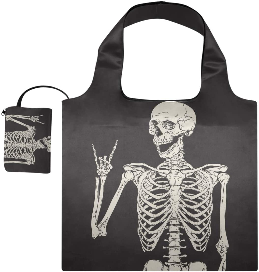 Human Skeleton Skull Reusable Grocery Bags Foldable Shopping Tote Shoulder Bag Art Human Head Washable Lightweight with Pouch Attached Handles for Women Girls