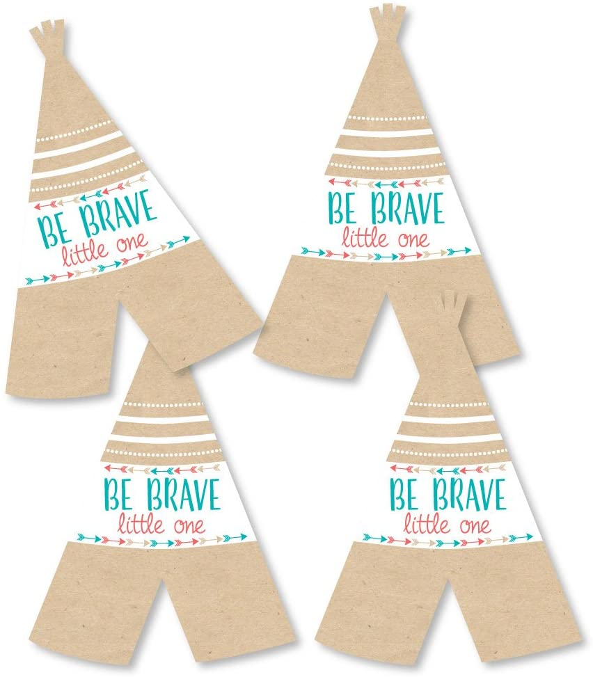 Be Brave Little One - Teepee Decorations DIY Boho Tribal Baby Shower or Birthday Party Essentials - Set of 20