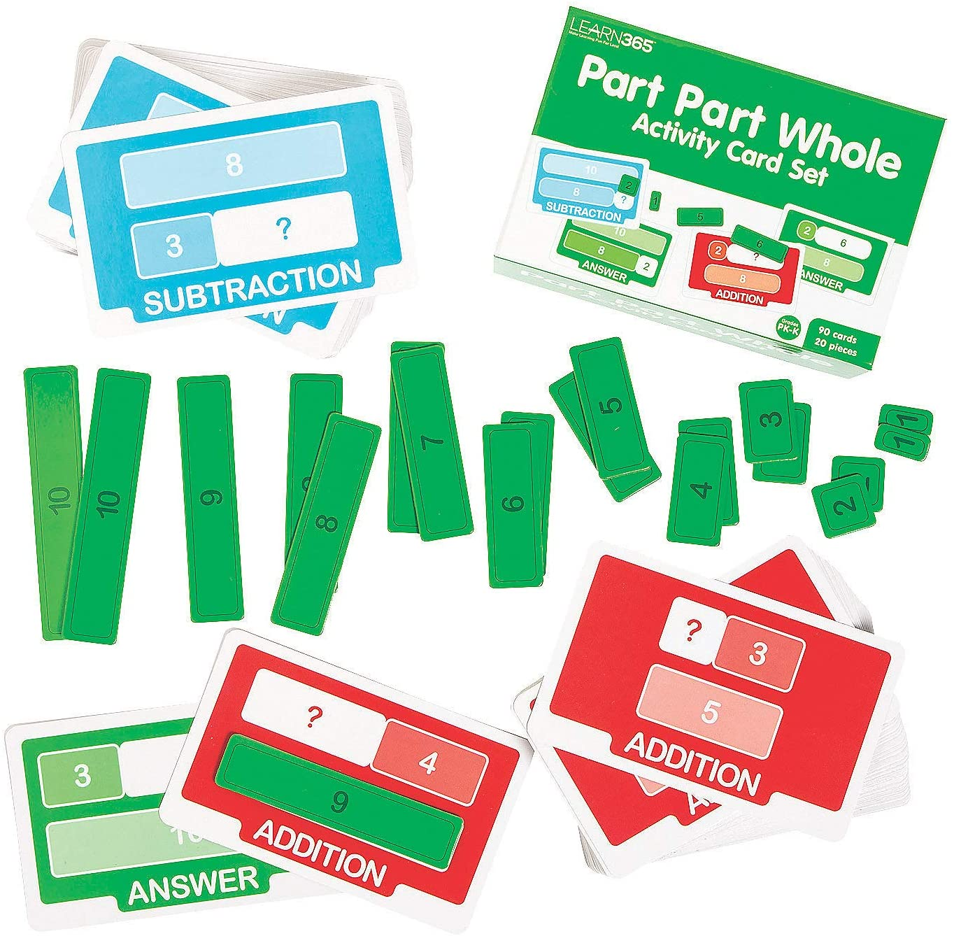 Fun Express Part Part Whole Activity Cards Set - 110 Pieces - Educational and Learning Activities for Kids