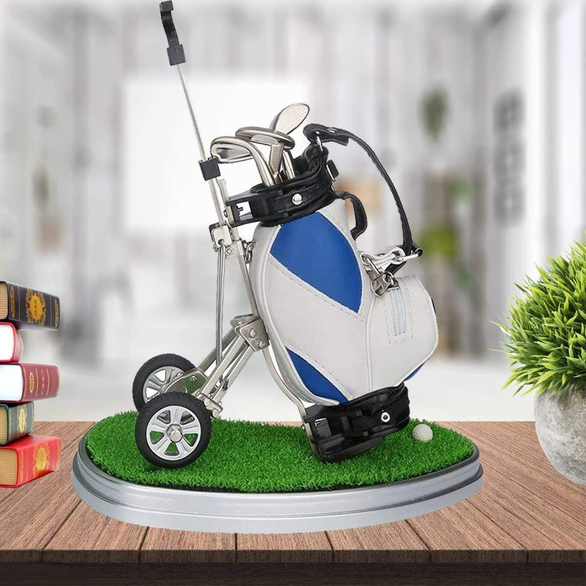 WLOOD Golf Pens with Golf Bag Holder,Novelty Gifts with 3 Pieces Aluminum Pen Office Desk Golf Bag Pencil Holder for Men Fathers Day,Golf Gifts for Golfer Fans Coworker (Blue and White)